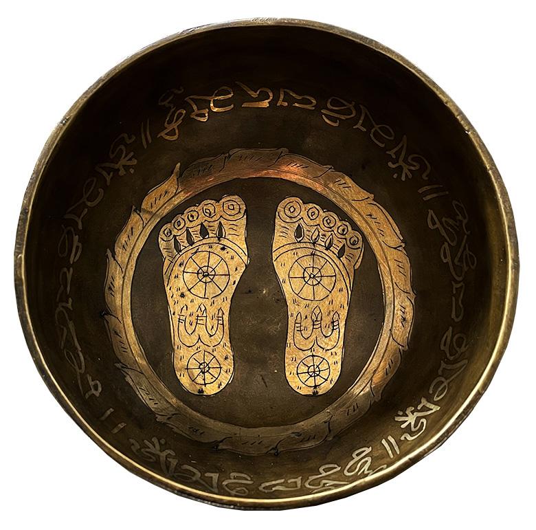 Tibetano campana 7 metalli Piedi con incisioni niente maglia 14cm