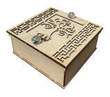 Scatola in legno cesellato Albero della Vita & 2 sfere di Cristallo