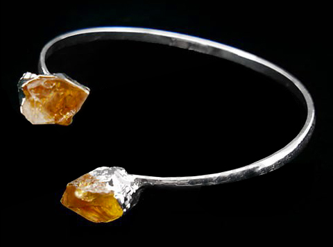 Silver-plated double Citrine bracelet