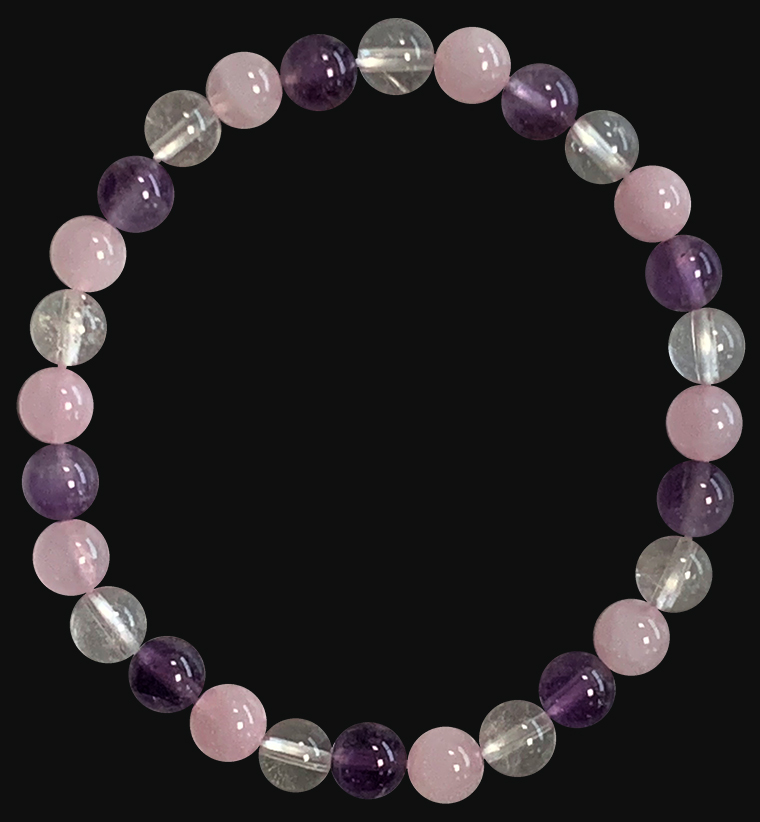 6mm pearls Rock crystal & Amethyst & Rose quartz