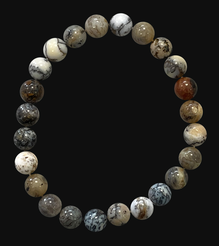 8mm pearls Agate Dendrite A bracelet
