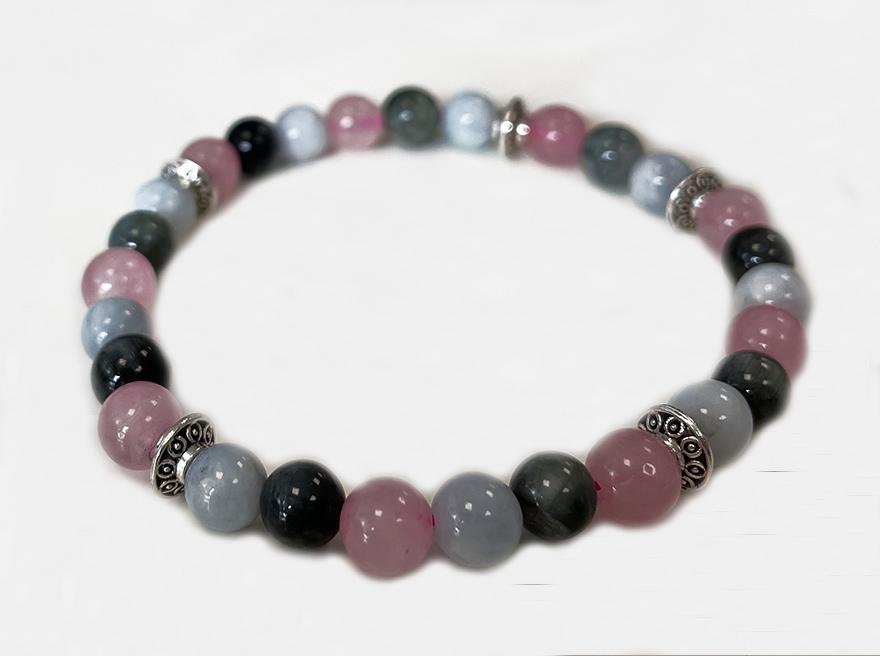 Bracelet Aigue Marine, Quartz rose, Oeil de Faucon & Charms A perles 6mm