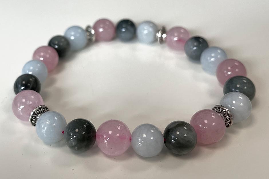 Bracelet Aigue Marine, Quartz rose, Oeil de Faucon & Charms A perles 8mm