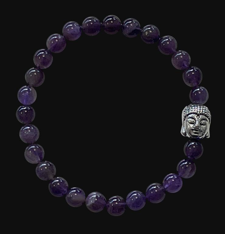 Bracelet Amethyste & Bouddha A perles 6mm