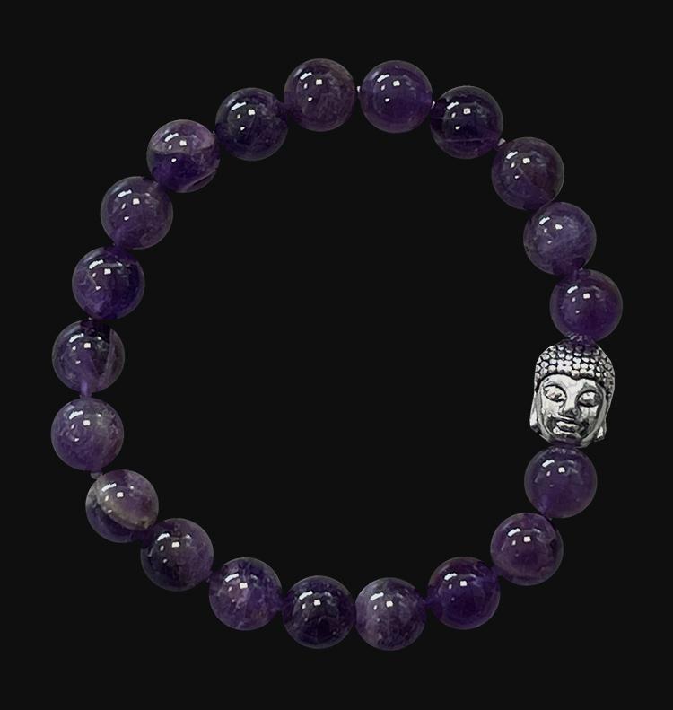 Bracelet Amethyste & Bouddha A perles 8mm