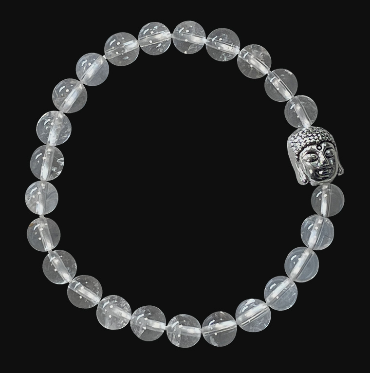 Bracelet Cristal de roche & Bouddha A perles 6mm