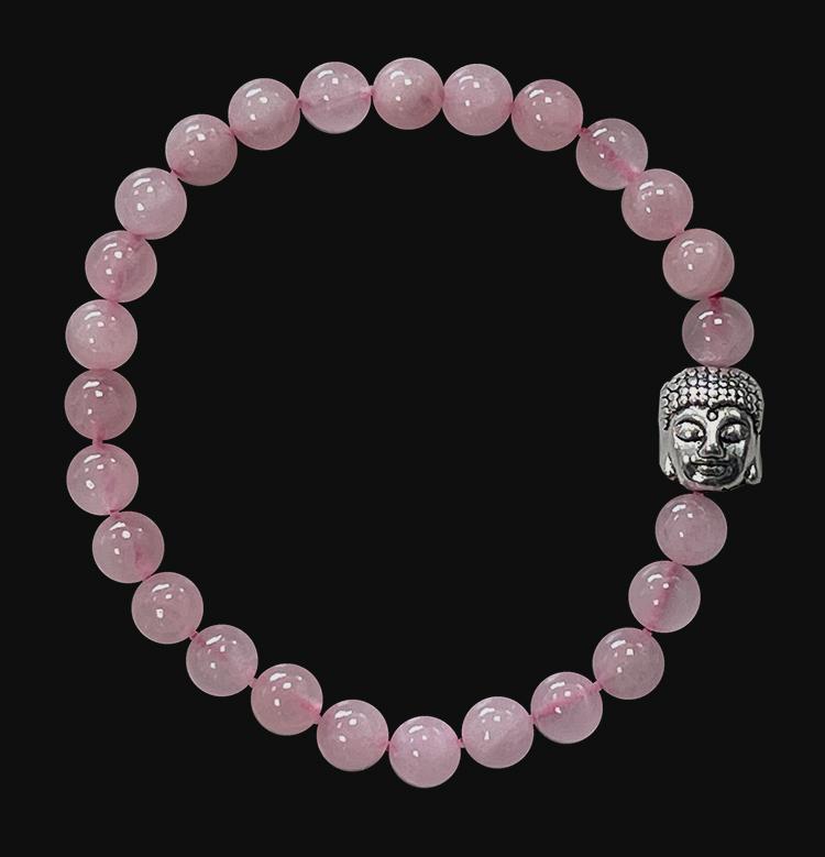 Bracelet Quartz rose & Bouddha perles 6mm