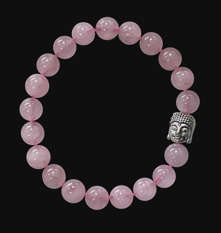 Bracelet Quartz rose & Bouddha perles 8mm
