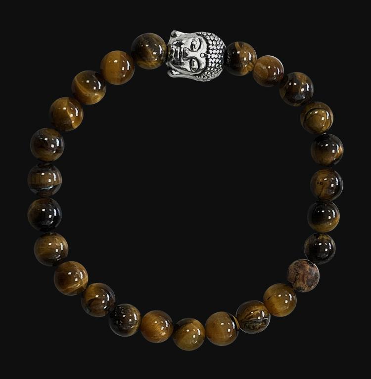 Bracelet Oeil de tigre & Bouddha A  perles 6mm