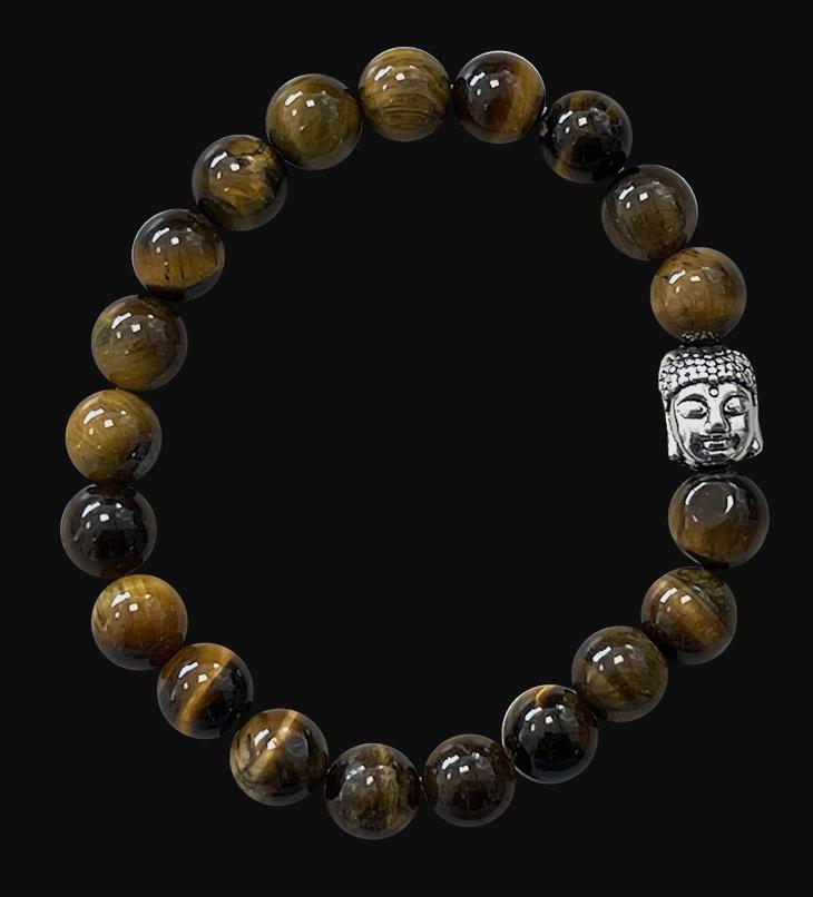 Bracelet Oeil de tigre & Bouddha A  perles 8mm