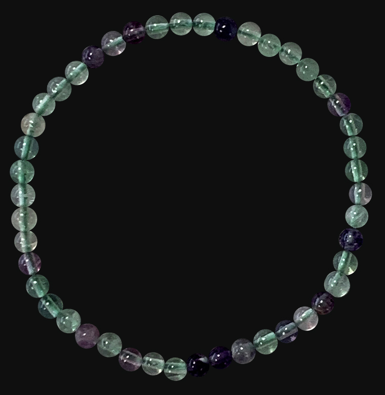 Multicolor Fluorite 4mm pearls bracelet