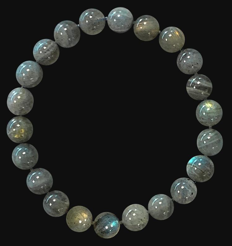 Bracelet Labradorite Gold AA perles 8mm