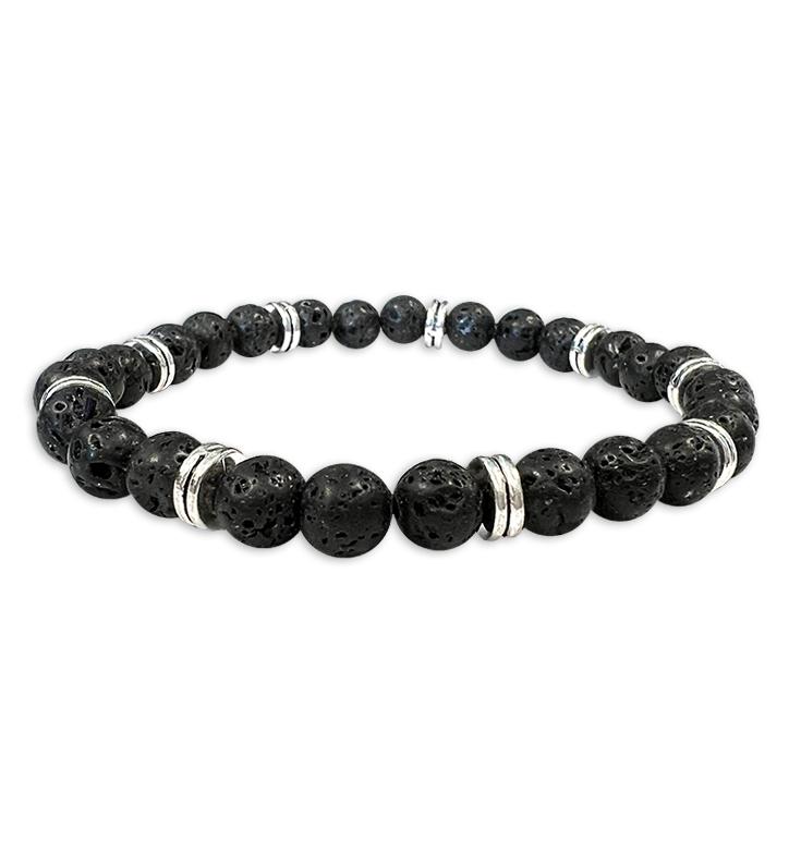 Bracelet pierre de lave &Charms perles 6mm