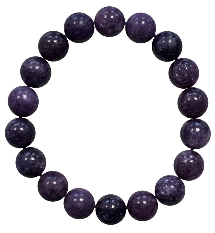 Bracciale Dark Lepidolite perles 10mm