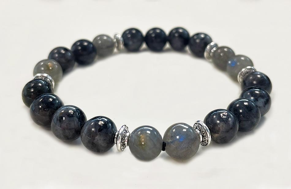 Bracelet Labradorite, Larvikite & Charms A perles 8mm