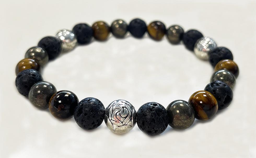 Bracelet Œil de Tigre, Pyrite, Pierre de Lave & Charms A perles 8mm