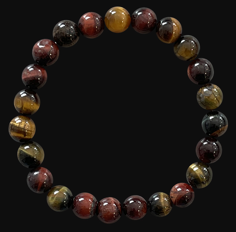 Multicolor  tiger eye 8mm A pearls bracelet