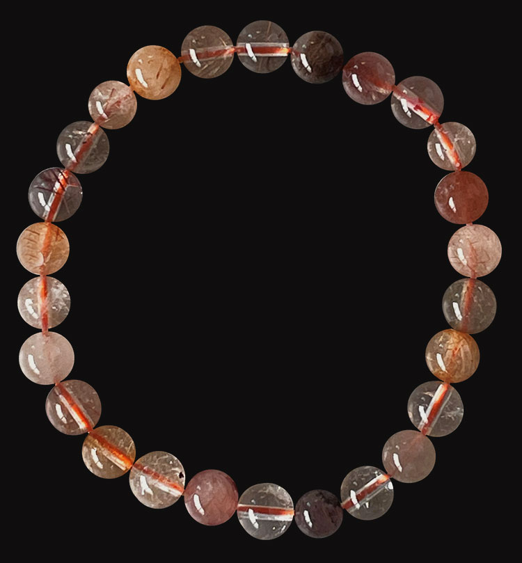 Multicolor Rutilated Quartz  A bracelet 6mm pearls