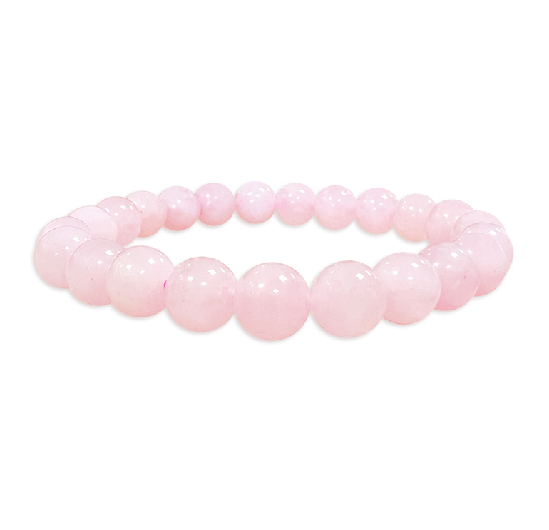 Bracelet quartz rose perles 8mm