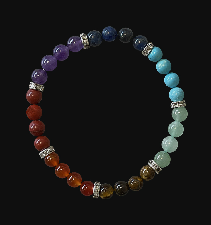 7 chakras & Strass bracelet 6mm pearls
