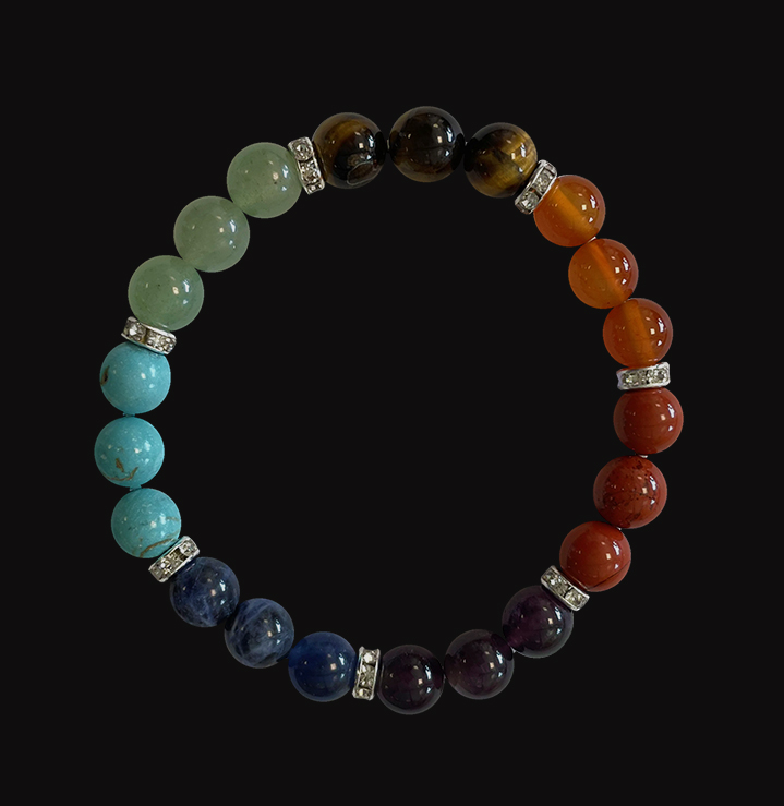 7 chakras & Strass bracelet 8mm pearls