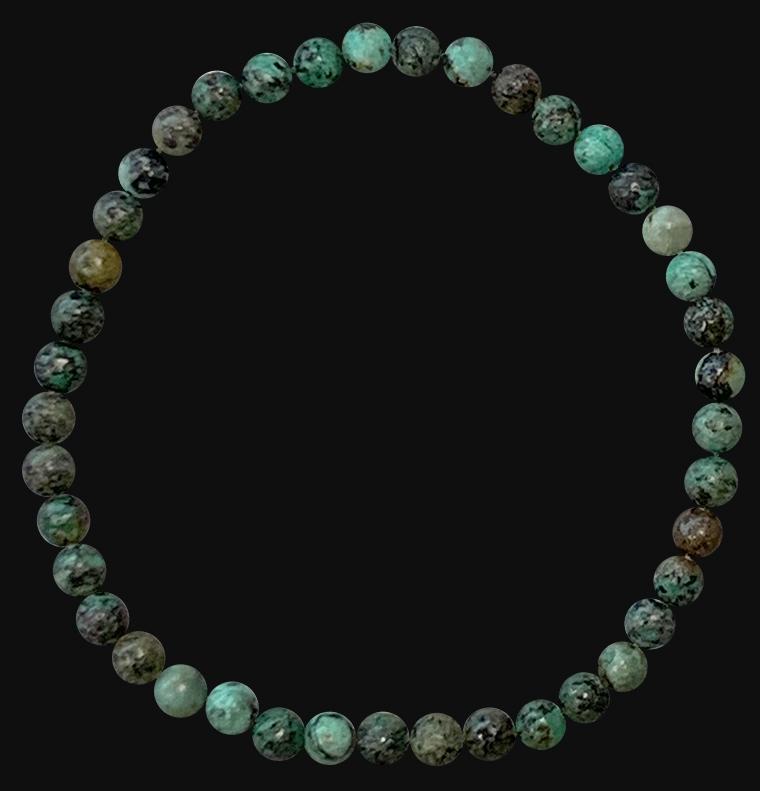 Bracelet turquoise naturelle d'Afrique perles 4mm
