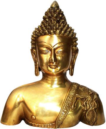 Busto di Buddha in ottone 19cm