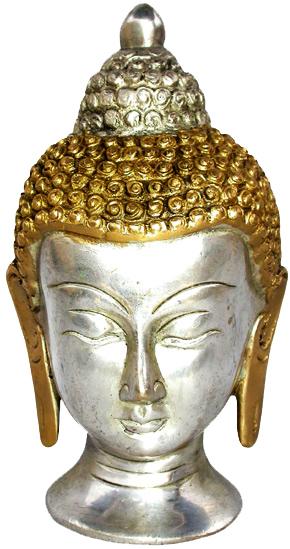 Testa di Buddha Tibet in ottone 2 colori 11cm