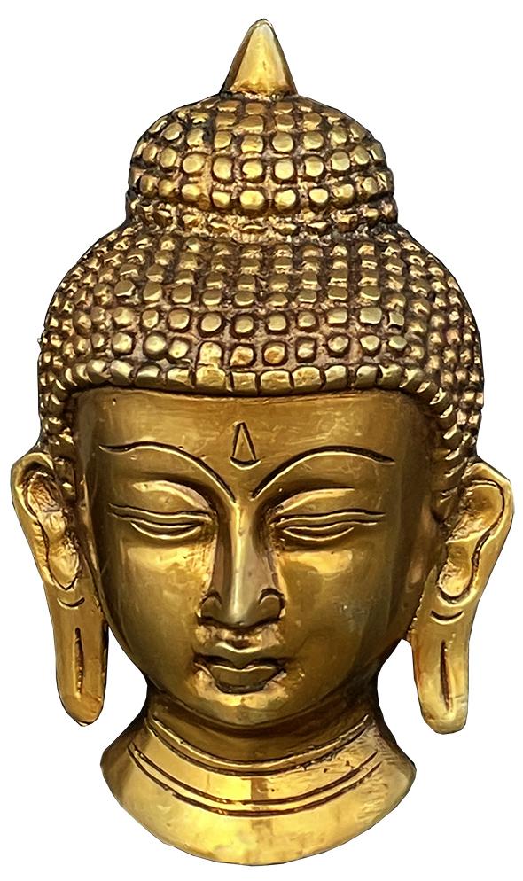 Maschera Testa di Buddha in ottone 13cm