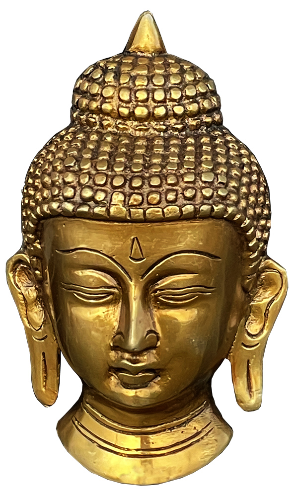 Tete de bouddha mural en bronze 13cm