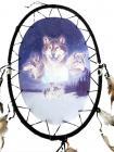 Dreamcatcher ovale lune & 6 loups 55cm