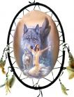 Oval dreamcatcher indian & 3 wolves 55cm
