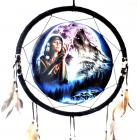 Indiana and blue wolf dream catcher 40cm