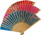Wooden color fan with flowers 38cm