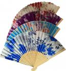 Wooden color fan with flowers 2 38cm x10