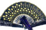 Black fan with yellow flowers x12