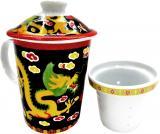 Mug théière noir dragon chinois