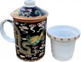 Green teapot mug green dragon