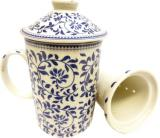 Mug Théière, porcelaine feuilles bleus