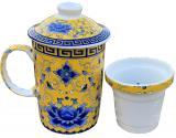 Mug théière jaune fleurs bleues