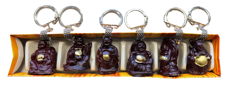 Set of 6 red resin Buddha key rings 3cm