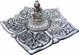 Porte encens métal lotus bouddha meditation 11cm