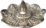 Incenso titolare loto in metallo Buddha cesellato 11cm