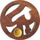 Porta incenso in legno tondo cesellato om 10 cm