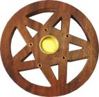 Round wooden incense holder curved pentacle 10cm