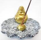 Porte encens happy bouddha doré base grise 12.50cm