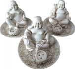 White happy buddha incense holder x3 9cm