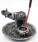 Round white elephant incense holder 8.50cm