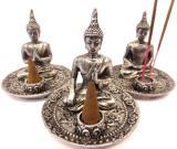 Porta incensiere tibetano Buddha argento x3 9cm