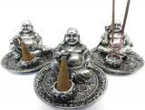 Porte encens happy bouddha argenté x3 9cm